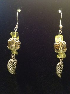 Decorated Yellow Leaf Earrings by queenofqeeks on Etsy, $8.00