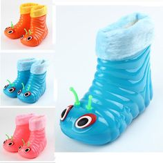 Baby Children Rain Shoes Warm Waterproof Cartoon Caterpillar Boots