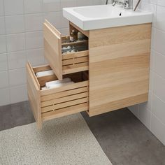 GODMORGON / ODENSVIK Wash-stand with 2 drawers, white stained oak effect, Pilkån tap, cm. Spacious and soft-closing, solid wood drawers. Recycling Facility, Wash Stand, Plastic Drawers, Polypropylene Plastic, Basin Mixer Taps, Color Glaze, White Stain, Wood Drawers, Vanity Units