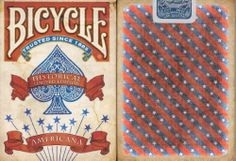Bicycle Americana Playing Cards by Bicycle. $9.95. BICYCLE AMERICANA PLAYING CARDS  The Americana Deck gives you the feeling of being back in the old west. The deck features a custom back design along with custom court cards and aces. The front of the cards have a weathered looking giving you the appearance that these cards were actually around during the wild, wild west. Production is limited and it has magic finish for improved handling and durability.