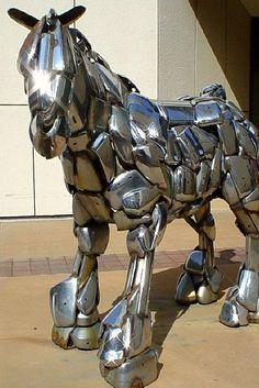 Horse made from chrome auto parts. Wichita, Kansas