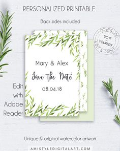 Save the Date Greenery Wedding Card - with clear and elegant watercolor natural design.This botanical wedding card is for an instant download EDITABLE PDF so you can download it right away, DIY edit and print it at home or at your local copy shop by Amistyle Digital Art