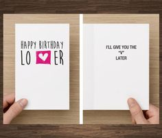Naughty Funny Birthday Card For Boyfriend I'll Give You The V Later Him Lover Husband Birthday by diamonddonatello on Etsy https://www.etsy.com/listing/178303533/naughty-funny-birthday-card-for