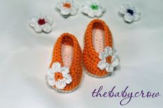 Crochet Baby Booties in beautiful bright orange - Hair Clip Included