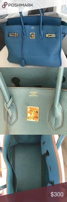 Hermes Birkin bag This is not authentic but its is a GORGEOUS bag. Real leather.  Stunning blue. Hermes Bags Totes