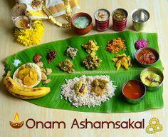 Kerala Onam sadya recipes - Onam sadya Vibhavangal - How to prepare Onam sadya - Onam sadya menu ideas with a spread of 20 dishes. Onam Wishes Images, Happy Onam Images, Small Cooker, Onam Sadhya, Indian Food Recipes, Ethnic Recipes, Kerala Recipes, Rice Recipes, Coconut Slice