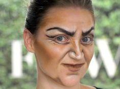 Hexe Make Up-Gesicht schminken gruselig-Gesichtskonturen betonen