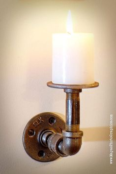 Modern Industrial Pipe candle holder