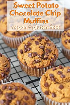 Fluffy, Moist, And Delicious Gluten-Free Vegan Sweet Potato Muffins That Are Loaded With Mini Chocolate Chips And Contain The Perfect Balance Of Warm Spices Via Delightfuladv Healthy Vegan Dessert, Cake Vegan, Vegan Sweets, Vegan Gluten Free Desserts, Baking Recipes, Vegan Recipes, Free Recipes, Vegan Sweet Potato Recipes, Vegan Meals