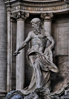 "classical-beauty-of-the-past: ""Statue of Poseidon (Trevi Fountain) - Rome """