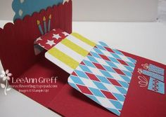 Pop up Birthday Cake.  Patterned Party, Delightful Dozen, Perfect Pennants die, Stripes EF