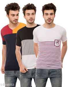 Checkout this latest Tshirts Product Name: *Trendy Men's Cotton Blend Tshirts Combo* Fabric: Cotton Blend Sleeve Length: Short Sleeves Pattern: Colorblocked Multipack: 3 Sizes: S, M, L, XL Country of Origin: India Easy Returns Available In Case Of Any Issue   Catalog Rating: ★4.1 (1106)  Catalog Name: Stylish Trendy Men's Cotton Blend Tshirts Combo Vol 10 CatalogID_284670 C70-SC1205 Code: 494-2146053-8721