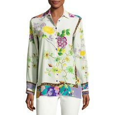 Etro Floral Silk Kimono Blouse (1,235 BAM) ❤ liked on Polyvore featuring  tops,