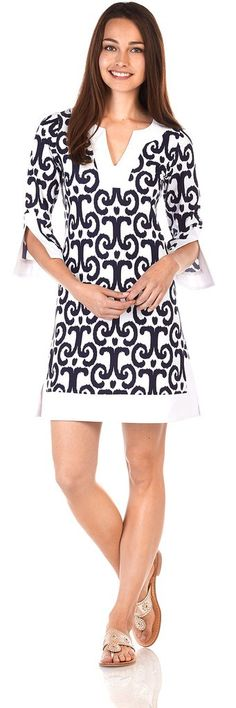 Jude Connally Holly Dress in JC Ikat White Navy - Sm to Lg. Available for special order in more sizes (from XS to XL)!  Tues Specials  ~ ALL Jeans 20% off (includes shorts and capris) ~ 15% off Gifts (excludes Vera)