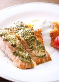 Laks med pestolokk og søtpotetmos Tuna, Pesto, Nutrition, Dessert, Fish, Pisces, Desserts, Atlantic Bluefin Tuna, Deserts