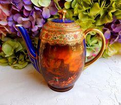 Vintage Schmieger Czech Porcelain Coffee Pot ~ Teapot Cobalt Gold ~ Victorian #SchmiegerCzechoslovakia