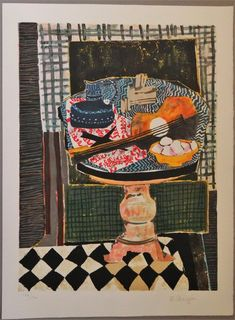 Wendy Chazin original lithograph guitar on pedestal table Matisse, Provence, School Of Visual Arts, Painting Still Life, Music Gifts, French Artists, Love Gifts, American Artists, Cool Artwork