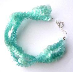Mint green recycled plastic bottles bracelet by dekoprojects