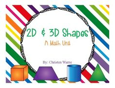 This product contains a variety of activities to help kiddos identify 2D and 3D shapes.  -Picture sorting cards (Color and Black & White)-Labeling-Definition cards/posters-2D & 3D Shapes Emergent Reader-Interactive Science Notebook Flaps-Cut & Paste pages for sorting various shapes-Sorting mats-Coloring pages for identifying between 2D and 3D shapes-Flip book-Labeling pages (can be used as an assessment too!)-Write the Room (Color and Black & White)-Class Book