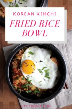 Korean Kimchi Fried Rice Bowl (Kimchee Bokkeum Bap) - Hot, spicy fried rice bowl filled with bacon bits, kimchi, and topped with a fried egg. Asian Recipes, Healthy Recipes, Ethnic Recipes, Healthy Food, Japanese Recipes, Vegan Food, Easy Recipes, Kimchi Fried Rice, Kimchi Noodles