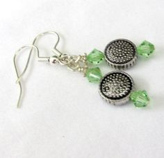 Green Peridot Crystal Earrings Antique Silver by EarthlieTreasures, $9.00