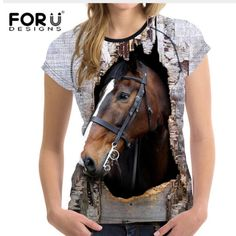 FORUDESIGNS Horse Printed Women T Shirt Summer Short Sleeve Soft Top Tees Sim Fit Tee Shirt for Ladies Female Comfortable Tee online shopping mall, buying fashion dresses & rapid delivery. Start your amazing deals with big discounts! 3d T Shirts, T Shirts For Women, Purple Dress Casual, Plus Size Summer Dresses, Female Shorts, Horse Print, Unisex, Women's Summer Fashion, Summer Shorts
