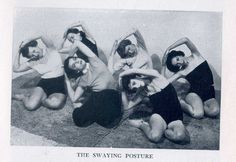 """I love themischievous one on the far left. Found onRachel and Yoga.From Indra Devi's """"Yoga For Americans"""""""