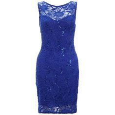 Lipsy Sequin Lace Bodycon Dress (2.415 RUB) found on Polyvore