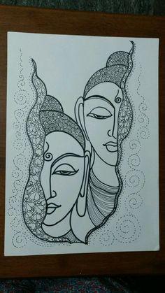 Buddha Drawing, Doodle Art Drawing, Buddha Art, Mandala Drawing, Black Pen Drawing, Buddha Painting, Art Drawings Sketches Simple, Pencil Art Drawings, Zantangle Art