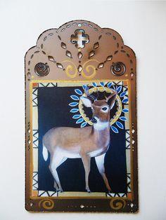 Little Deer Saint, Darling Mule Deer, Large Steel Collage Icon, Print from my Original Art, Christina Miller Artist Wildlife Photography, Animal Photography, Figure Painting, Painting & Drawing, Christina Miller, Cute Baby Animals, Wild Animals, Deer Art, Mule Deer