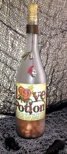 Halloween Magic Spells Potion/Poison Bottle - Love Potion  Number 9. $15.00, via Etsy.