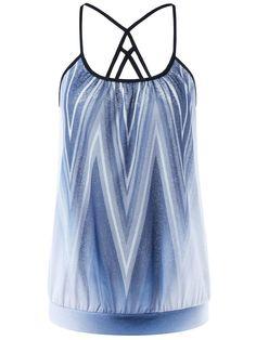 Fashionmia - Fashionmia Spaghetti Strap  Gradient Striped Sleeveless T-Shirt - AdoreWe.com