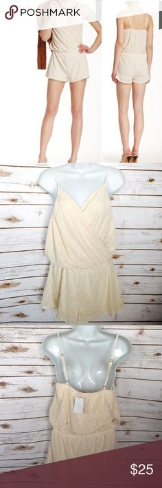 """Sweet Pea Surplice Lace Cream Romper - sz. M This Sweet Pea Surplice Lined Lace Cream Romper is New With Tags and has never been worn.  Details; A ruched and draped surplice wrap front adds elegance to a spaghetti strap short romper. - Surplice neck - Sleeveless - Adjustable spaghetti straps - Elasticized waist - Lace construction - Approx. 32"""" length, 1.5"""" inseam - Imported Fiber Content: 100% nylon Care Hand wash cold Sweet Pea Pants Jumpsuits & Rompers"""