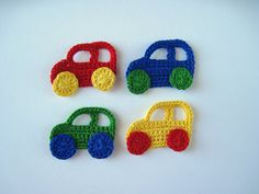 Crochet Pattern Car and Truck Applique Transportation Boy Crochet Car, Crochet For Boys, Crochet Motif, Baby Blanket Crochet, Double Crochet, Single Crochet, Free Crochet, Crochet Appliques, Baby Knitting Patterns