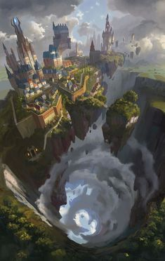Ideas concept art environment animation fantasy landscape for 2019 Concept Art Landscape, Fantasy Concept Art, Fantasy Landscape, Fantasy Artwork, Landscape Art, Fantasy City, Fantasy Places, Fantasy World, Fantasy Island