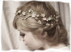 flower crown, wedding crown, birds and fresia vintage style crown