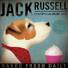 Jack Russell Cupcake Company original illustration giclee archival signed artists print 12 x 12 by stephen fowler
