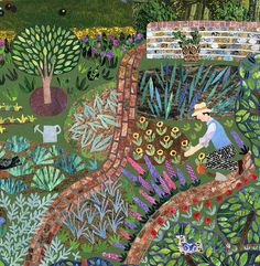 Monk's House Weekend 1931 (detail for greeting card)  Cut Paper Collage www.amandawhite-contemporarynaiveart.com