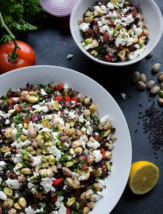 Black Rice Tabbouleh with Chickpeas Feta and Pistachios | @tasteLUVnourish on TasteLoveAndNourish.com