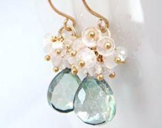 Pendientes piedra de luna de cuarzo verde Teal en 14k llene de oro, pendientes de racimo de piedras preciosas hecha a mano