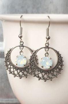 White Opal Filigree Earrings, SIlver, Hoop, Dangle, October Birthstone