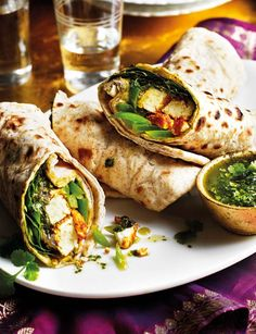 These healthy and delicious delicious paneer kathi rolls make the dreamiest lunch or dinner, with a lovely blend of Indian spices to add tons of flavour! Thanks to Anjum Anand for the Holi recipe. Vegetarian Cooking, Vegetarian Recipes, Cooking Recipes, Healthy Recipes, Healthy Food, Vegetarian Sandwiches, Delicious Sandwiches, Wrap Recipes, Veggie Recipes