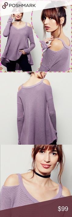 🌙FREE PEOPLE🌙Moonshine Open-Shoulder Top FREE PEOPLE🌙Never been worn. Honeycomb textured cold shoulder sweater w/ unfinished trim & a ribbed V-neckline. Oversized effortless fit with a high low hem. 100% cotton. Hand wash cold. Color: smokey grape. Free People is sold out of this color! Please ask any questions before purchasing. Free People Tops Blouses
