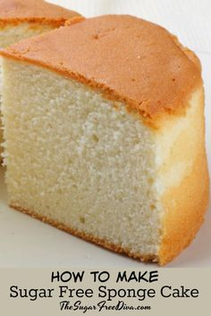 Sugar Free Sponge Cake- this is how to make it. Sugar Free Deserts, Sugar Free Sweets, Low Carb Sweets, Low Carb Desserts, Healthy Sweets, Diabetic Cake Recipes, Diabetic Friendly Desserts, Low Sugar Recipes, No Sugar Foods