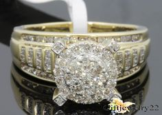 10K Yellow Gold Over 1.58 Ct D/VVS1 Diamond Cut Engagement Wedding Bridal Ring  #giftjewelry22 #SolitaireWithAccents
