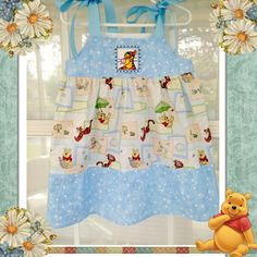 Easter Holiday Dress,  Winnie-the-Pooh dress for a baby girl in a size 3 years