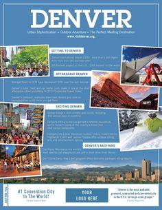 Use the VISIT DENVER Digital Marketing Kit to promote your Denver meeting, tradeshow, conference or event. Find postcards, ads, emails, copy and more!
