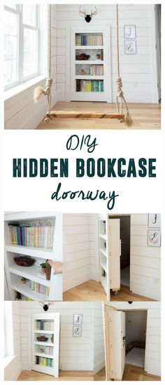 DIY Hidden Doorway Bookcase. This would be perfect for that doorway under our stairs!