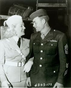 Historic Photograph of Betty Grable & Sgt. Carl Bell (millionth Serviceman To Visit) The Hollywood Canteen