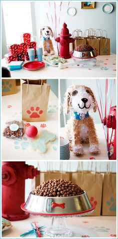 puppy party (for the record, I think this is for a child& birthday party. I see no reason why this couldn& be for a puppy& birthday party. [except for the puppy pinata. no way could other puppies swing a bat a a puppy pinata]) Dog Themed Parties, Puppy Birthday Parties, Puppy Party, Dog Birthday, Birthday Party Decorations, Birthday Ideas, Cake Birthday, Happy Birthday, Party Fiesta